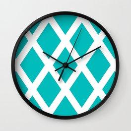 Turquoise Diamonds Wall Clock