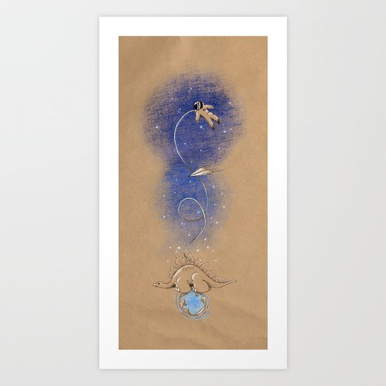 Dinosaurs & Astronauts — Air of Imagination Series Art Print