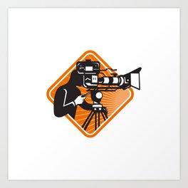 film crew cameraman shooting filming camera Art Print