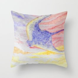 Flying manta ray Throw Pillow