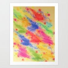 SEEING STARS 2 - Yellow Rainbow Pretty Starry Sky Abstract Watercolor Painting Feminine Pattern Art Print