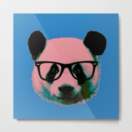 Panda with Nerd Glasses in Blue Metal Print