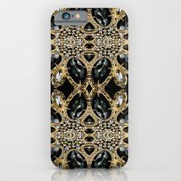 art deco jewelry bohemian champagne gold black rhinestone iPhone Case