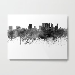 Atlanta skyline in black watercolor on white background Metal Print