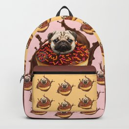 Pug Succulent Chocolate Donut Backpack