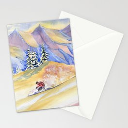 Powder Skiing Art Stationery Cards