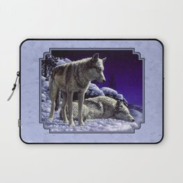 Night Watch Wolves in Snow Laptop Sleeve