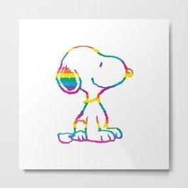 Snoopy Rainbow Metal Print