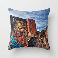 manchester Throw Pillows featuring Colourful MANchester by inkedsandra