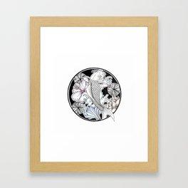 Japanese Inspired Fish Design Framed Art Print