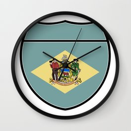 Delaware Flag In An Interstate Sign Wall Clock