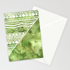 Modern green watercolor color block geometric aztec  greenery color of the year pattern Stationery Cards