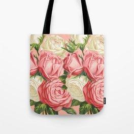 Coral pink blush cream ivory and green summer big roses Tote Bag