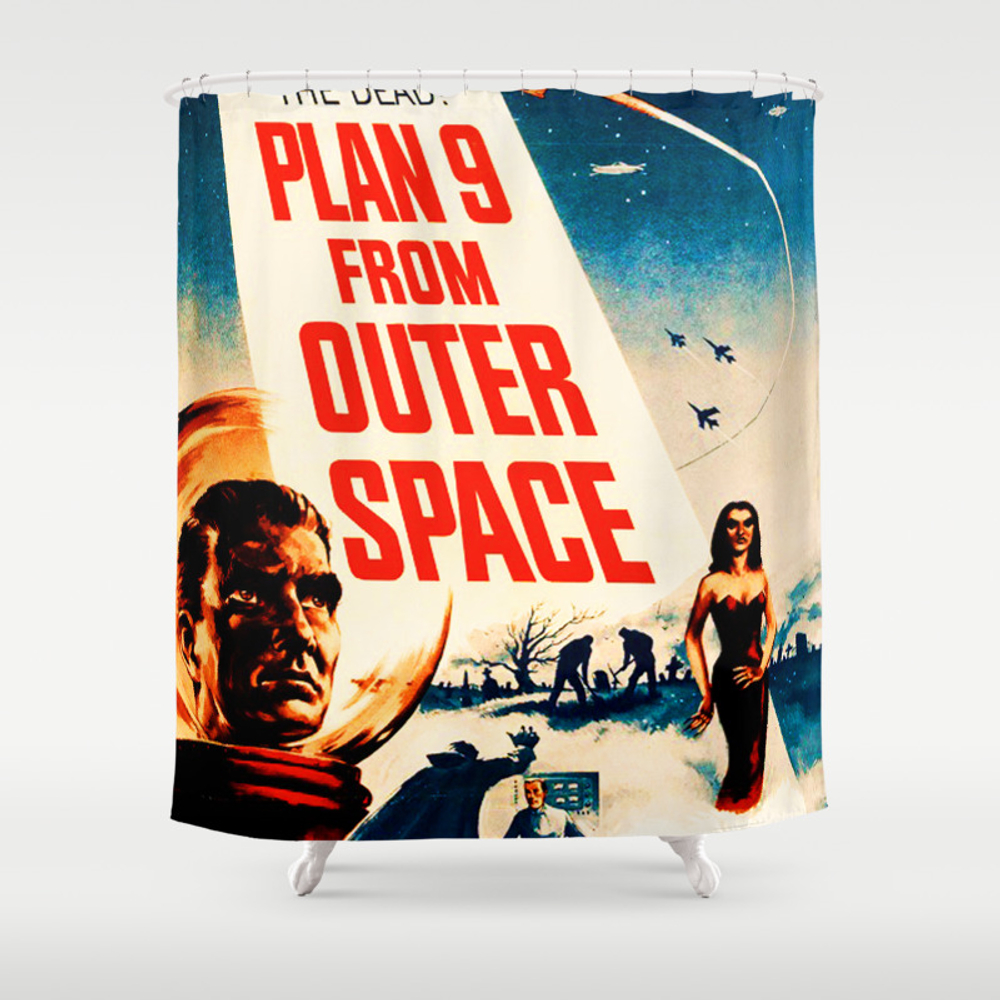 Plan 9 From Outer Space, Vintage Movie Poster Shower Curtain by Alma_design CTN7728536