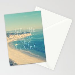 Offline is the new Luxury Vintage Beach Print Stationery Cards