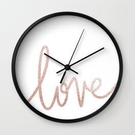 rose gold love print Wall Clock