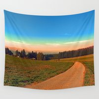 hiking Wall Tapestries featuring Hiking into the sunset | landscape photography by Patrick Jobst
