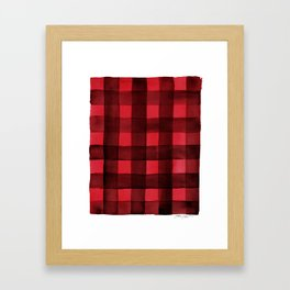 Buffalo Plaid Watercolor in Red Framed Art Print