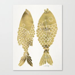 Indonesian Fish Duo – Gold Palette Canvas Print