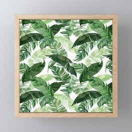 Green leaf watercolor pattern Framed Mini Art Print
