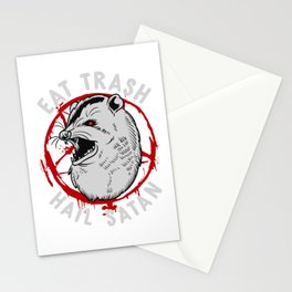 Eat Trash Hail Satan Occult Pentagram Possum design Stationery Cards