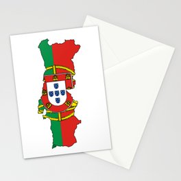 Portugal Map with Portuguese Flag Stationery Cards