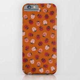 All over Modern Ladybug on burnt orange Background iPhone Case
