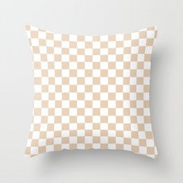 Small Checkered - White and Pastel Brown Throw Pillow
