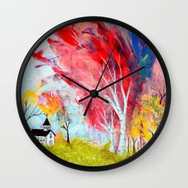 Under the Red Birch Tree Wall Clock