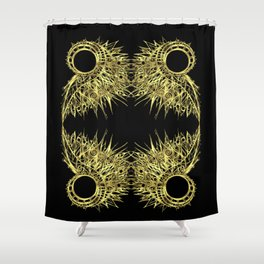 GOLDEN CURL - SHINING PAINTING ON BLACK BACKGROUND Shower Curtain