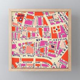 paris map pink Framed Mini Art Print