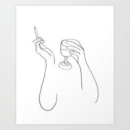 Wine & Cigarettes Art Print