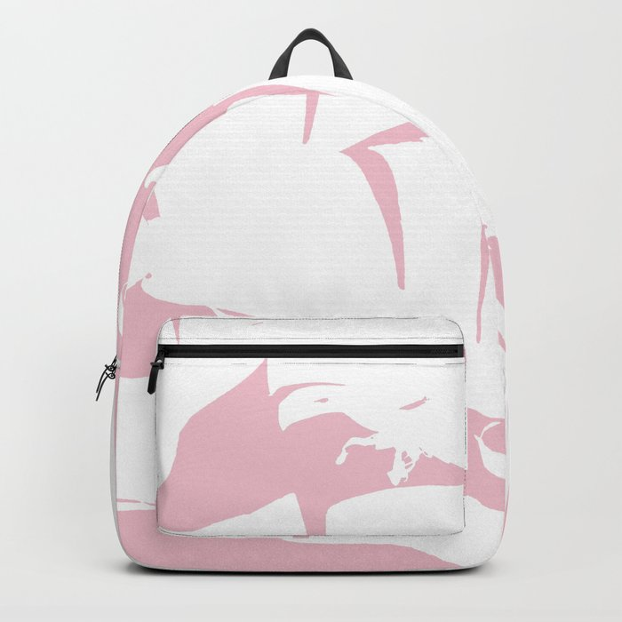 White on Pink Tropical Banana Leaves Pattern Backpack