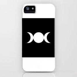 Triple Goddess Symbol – Divine Feminine – Maiden, Mother, Crone - White on Black iPhone Case