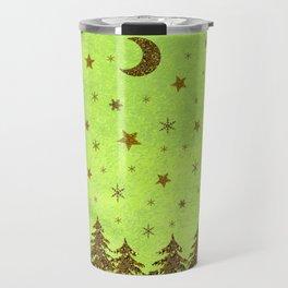 Sparkly Christmas tree, stars, moon on abstract green paper Travel Mug