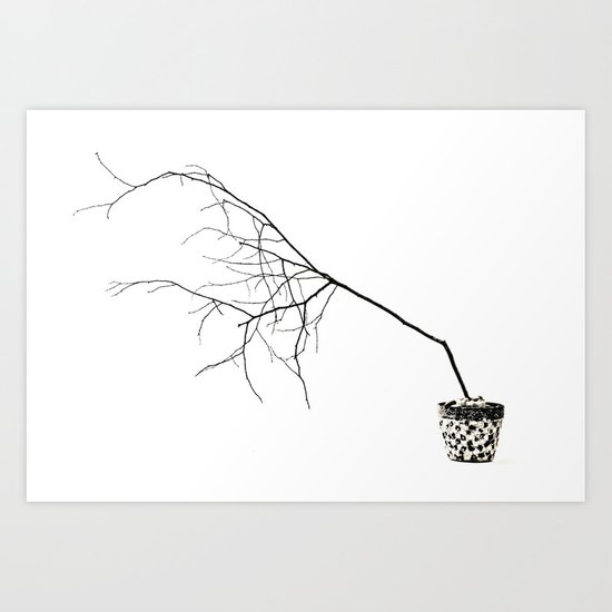 Barely Branches Mono Art Print