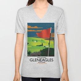 Gleneagles Scotland Golf travel poster Unisex V-Neck