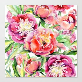 Blush pink orange green hand painted watercolor floral Canvas Print