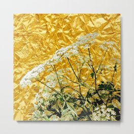 GOLDEN LACE FLOWERS FROM SOCIETY6 BY SHARLESART. Metal Print