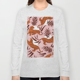 Vibrant Wilderness / Tigers on Pink Long Sleeve T-shirt