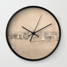Vintage Pictorial View of Jersey City NJ (1866) Wall Clock