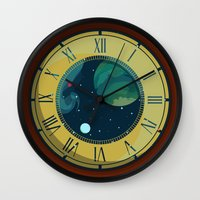 pocket Wall Clocks featuring Cosmic Pocket Watch by badOdds