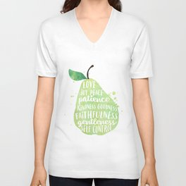 Watercolor pear | Fruit of the spirit | Green watercolor pear art print Unisex V-Neck