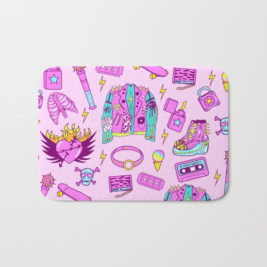 Pink Punk Girly Pattern Bath Mat