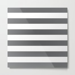 Simply Striped in Storm Gray and White Metal Print