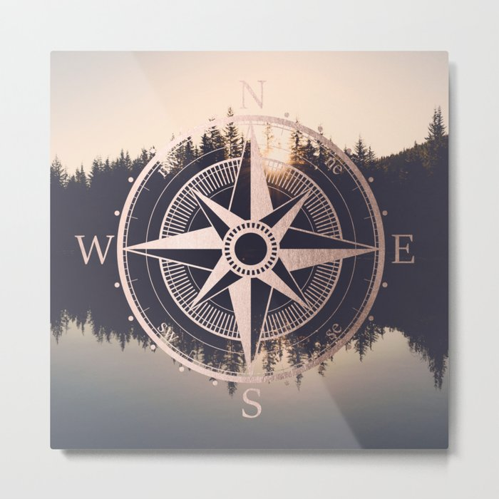 Rose Gold Compass Forest Metal Print