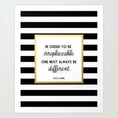 Coco Gold Irreplaceable Fashion Quote Art Print