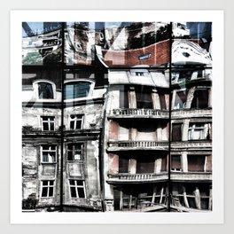 Reflection of Buildings on Buldings in Belgrade Art Print