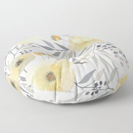 Modern, Floral Prints, Yellow, Gray and White Floor Pillow