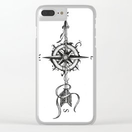 Compass with Arrow (Tattoo stule) Clear iPhone Case
